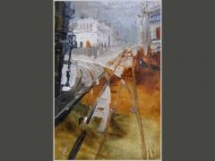Арбат, прокладка трамвайных путей. Москва сто лет назад.